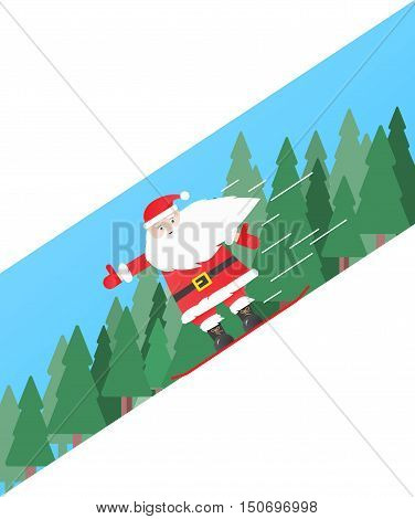 Santa Clause Snowboarder Sliding Down Hill, Merry Christmas Banner Snowboarding Snow Mountains Slopes Happy New Year Card Flat Vector Illustration
