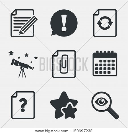 File refresh icons. Question help and pencil edit symbols. Paper clip attach sign. Attention, investigate and stars icons. Telescope and calendar signs. Vector