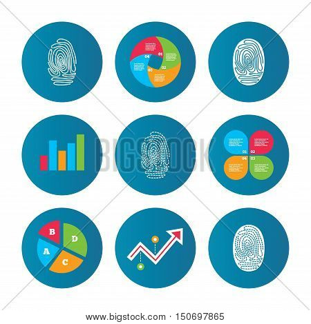 Business pie chart. Growth curve. Presentation buttons. Fingerprint icons. Identification or authentication symbols. Biometric human dabs signs. Data analysis. Vector