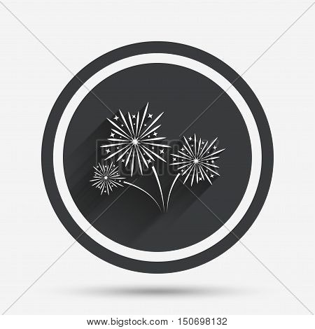 Fireworks sign icon. Explosive pyrotechnic show symbol. Circle flat button with shadow and border. Vector
