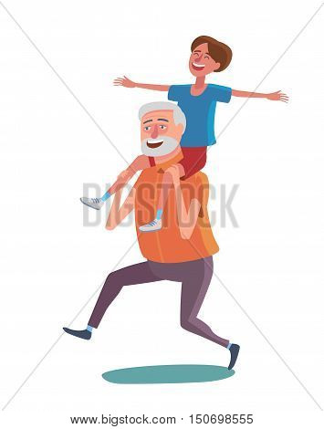 Flat design cartoon illustration in vector. Concept of happy old people. Man and woman on white background. Active elder grendparents