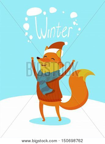 Seasons greeting card with hipster animal. Flat design illustration in vector. Winter animal concept. For print, postcard, web, social media and t-shirt design