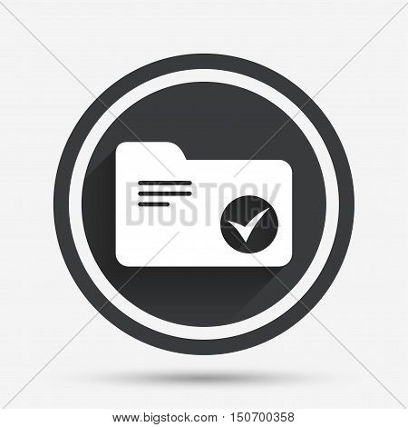 Select document folder sign. Accounting binder symbol. Bookkeeping management. Circle flat button with shadow and border. Vector