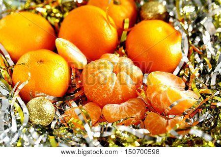 Ripe and fresh mandarins, on close up