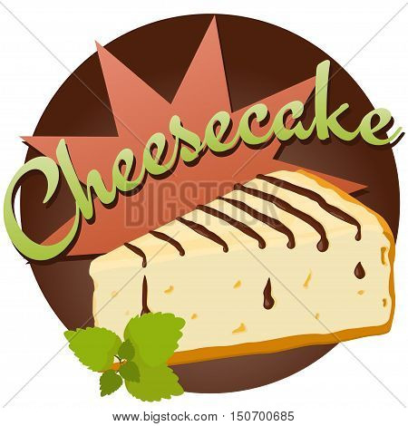 Cheesecake With Chocolate And Mint Leaves Vector Illustration.