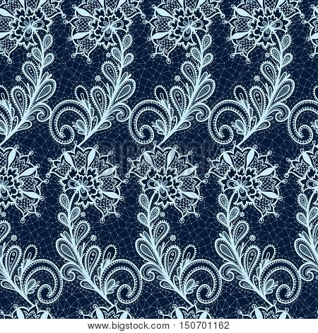 Seamless lace floral pattern. Vintage Vector lace on texture.