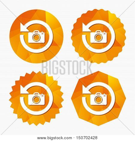 Front photo camera sign icon. Digital photo camera symbol. Change front to back. Triangular low poly buttons with flat icon. Vector