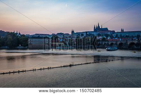 scenery of prague skyline Vltava river and Charles Bridge in the blue hour