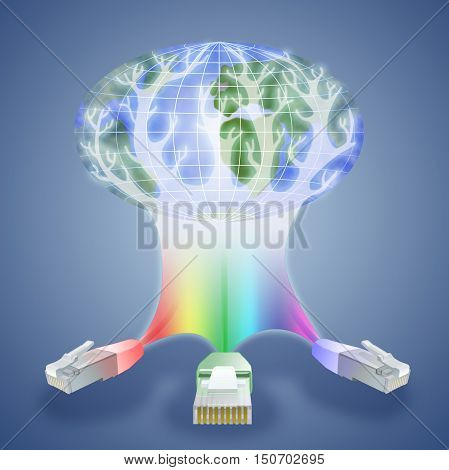 Illustration of modern technologies that have become available anywhere in the world. Three cable network like the three whales that keep the planet are the basis of modern civilization