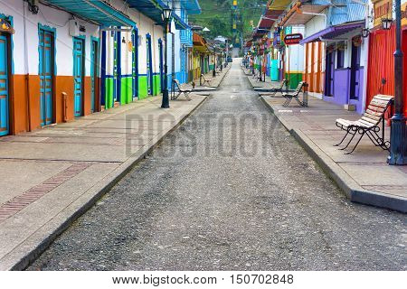 SALENTO COLOMBIA - JUNE 6: Early morning street scene in Salento Colombia on June 6 2016