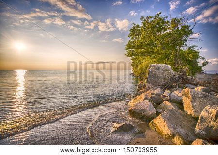 View of Point Pelee National Park beach at sunset, southwestern Ontario, Canada