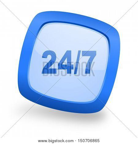 24/7 blue glossy web design icon