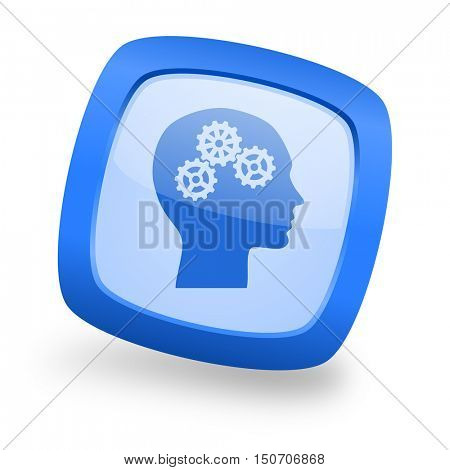 head blue glossy web design icon