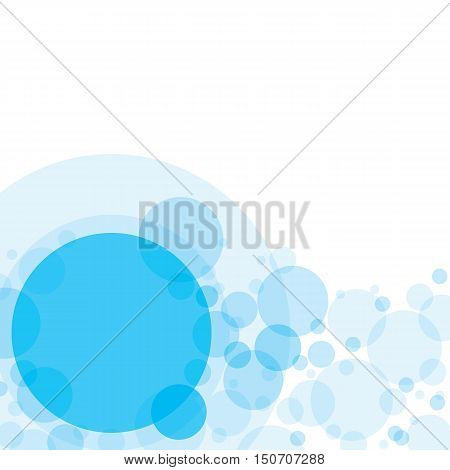 Transparent crossing circles abstract background. Sky blue bubbles randomly placed on white backdrop and one big circle with space for your text or symbols. Easy editable vector eps10 illustration.