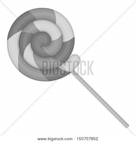 Lollipop icon in monochrome style isolated on white background. Circus symbol vector illustration.