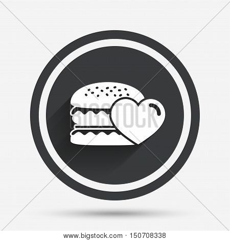 Hamburger icon. Burger food symbol. Cheeseburger sandwich sign. Circle flat button with shadow and border. Vector