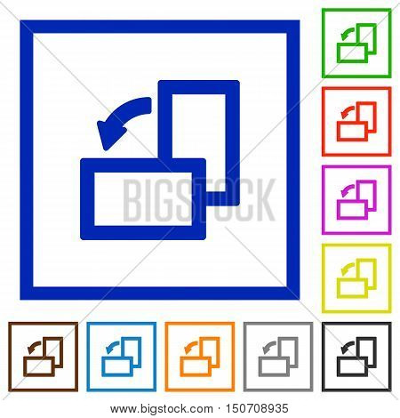 Set of color square framed rotate left flat icons