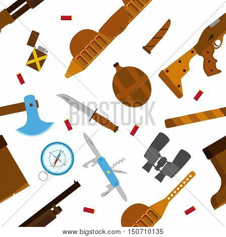 Hunting icons flat pattern with knife axe shotgun case lighter pen-knife compass shell bullets binoculars bottle and boots isolated vector illustration. Seamless pattern.