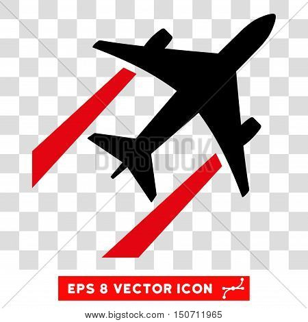 Vector Air Jet Trace EPS vector pictogram. Illustration style is flat iconic bicolor intensive red and black symbol on a transparent background.