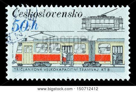 CZECHOSLOVAKIA - CIRCA 1986 : Cancelled postage stamp printed by Czechoslovakia, that shows Tram.
