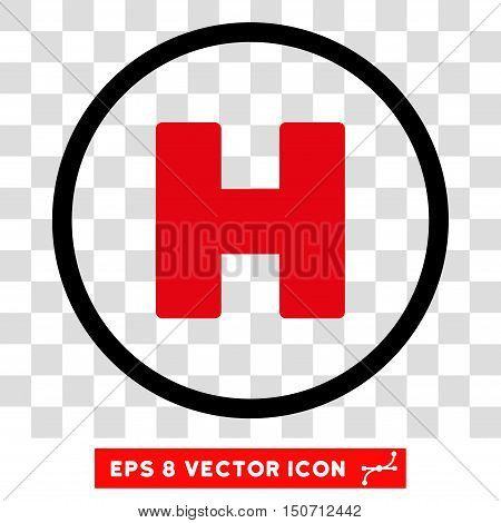 Vector Helicopter Landing EPS vector pictograph. Illustration style is flat iconic bicolor intensive red and black symbol on a transparent background.