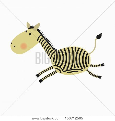 Cartoon cute Zebra runs. Pictures for children. On a white background.