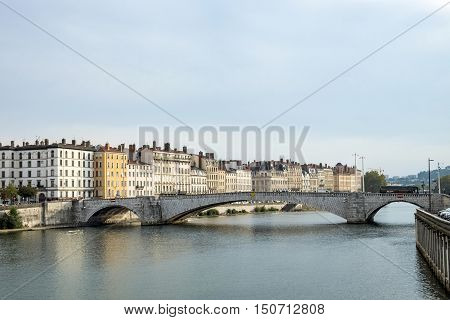 view to Rriver rhone and skyline of Lyon France