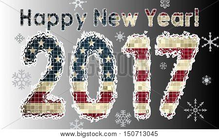 Happy New Year 2017, 2016 HAPPY NEW YEAR NUMERALS,  Pocket calendar 2016,   Business card 2016 calendar