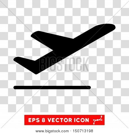 Vector Airplane Departure EPS vector icon. Illustration style is flat iconic black symbol on a transparent background.