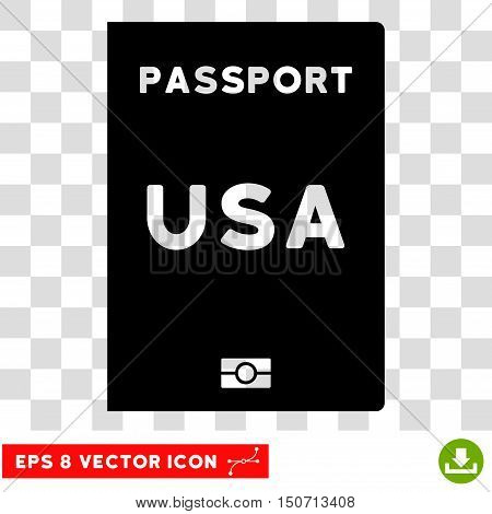 Vector American Passport EPS vector pictograph. Illustration style is flat iconic black symbol on a transparent background.