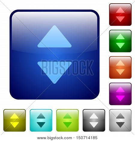 Set of vertical control arrows color glass rounded square buttons