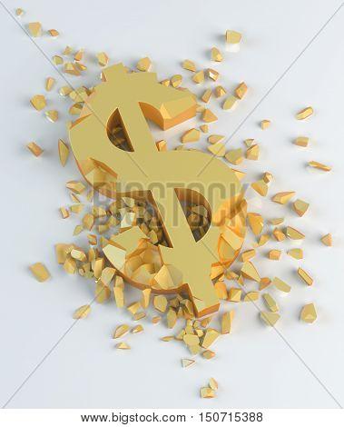 3d golden crushed symbol of dollar $ on a light background
