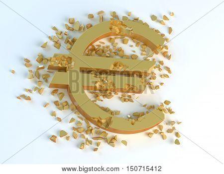 golden crushed symbol of euro € on a light background