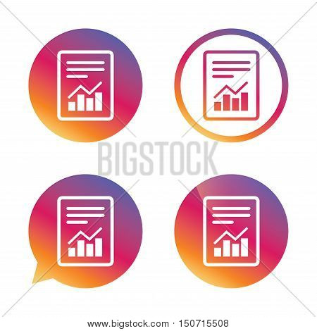 Text file sign icon. Add File document with chart symbol. Accounting symbol. Gradient buttons with flat icon. Speech bubble sign. Vector