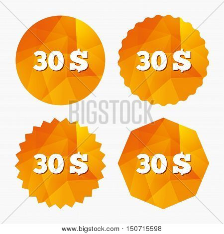 30 Dollars sign icon. USD currency symbol. Money label. Triangular low poly buttons with flat icon. Vector