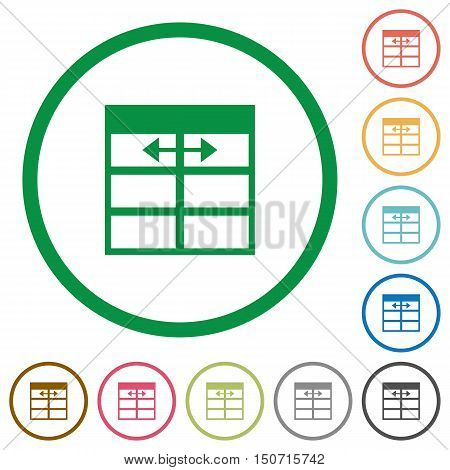Set of Spreadsheet adjust table column width color round outlined flat icons on white background
