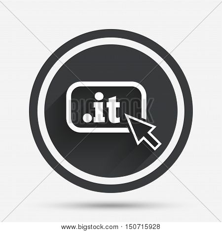 Domain IT sign icon. Top-level internet domain symbol with cursor pointer. Circle flat button with shadow and border. Vector