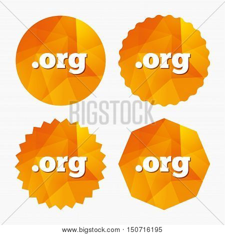 Domain ORG sign icon. Top-level internet domain symbol. Triangular low poly buttons with flat icon. Vector