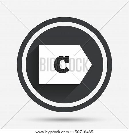 Energy efficiency class C sign icon. Energy consumption symbol. Circle flat button with shadow and border. Vector