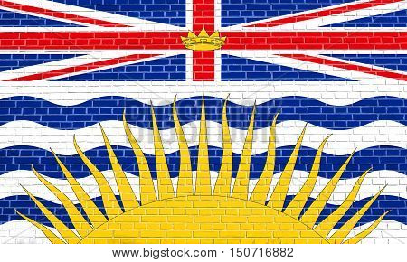 Canadian provincial BC patriotic element and official symbol. Canada banner and background. Flag of the Canadian province of British Columbia on brick wall texture background, 3d illustration