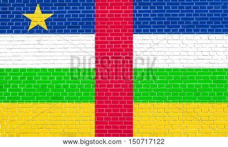 Central Africa national official flag. African patriotic symbol banner element background. Flag of the Central African Republic on brick wall texture background, 3d illustration