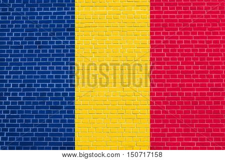Chadian national official flag. African patriotic symbol banner element background. Flag of Chad on brick wall texture background, 3d illustration