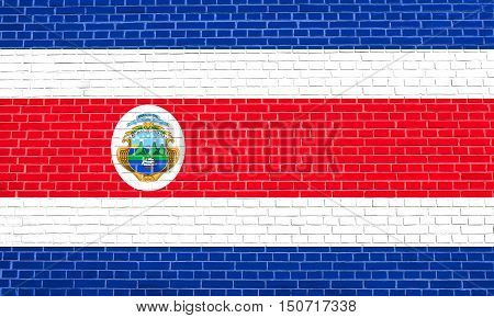 Costa Rican national official flag. Patriotic symbol banner element background. Accurate dimensions. Correct size colors. Flag of Costa Rica on brick wall texture background, 3d illustration