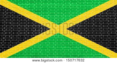 Jamaican national official flag. Patriotic symbol banner element background. Flag of Jamaica on brick wall texture background, 3d illustration