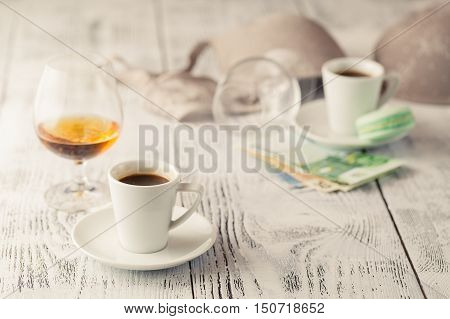 Payment of the prostitute on table with alcohol
