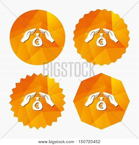 Protection money bag sign icon. Hands protect cash in Euro symbol. Money or savings insurance. Triangular low poly buttons with flat icon. Vector