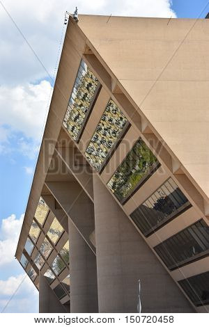 DALLAS, TX - SEP 17: Dallas City Hall in Texas, as seen on Sep 17, 2016. The current building, the city's fifth city hall, was completed in 1978 and replaced the Dallas Municipal Building.