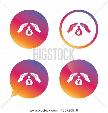 Protection money bag sign icon. Hands protect cash in Yen symbol. Money or savings insurance. Gradient buttons with flat icon. Speech bubble sign. Vector