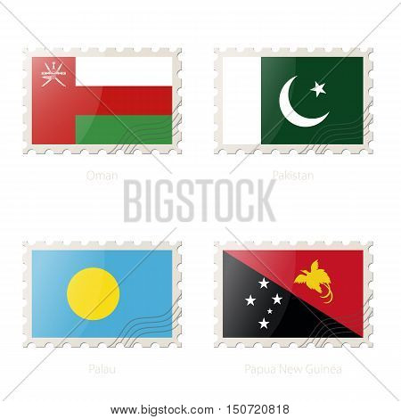 Postage Stamp With The Image Of Oman, Pakistan, Palau, Papua New Guinea Flag.