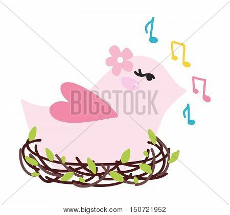 Vector illustration of cute bird singing. Cute wildlife bird singing in nest vector animal. Animal branch spring illustration birdsong talking cheerful bird singing character painting.